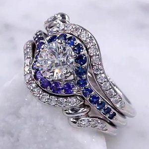 Diamond Ring Set 3.50 Carats Blue Sapphire Women